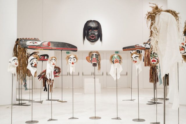 """Beau Dick, Twenty-two masks from the series """"Atlakim"""", 1990–2012, various materials, installation view, EMST—National Museum of Contemporary Art, Athens, documenta 14, photo: Mathias Völzke"""