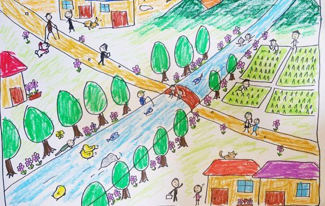 【風景構成法①】知らない先輩の前で緊張しながら描いた描画。完成までに約1時間かかった。