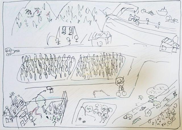 【風景構成法②】完成まで約20分程度でさらさらと描かれたもの。隅にいるウシガエルがとてもかわいい。