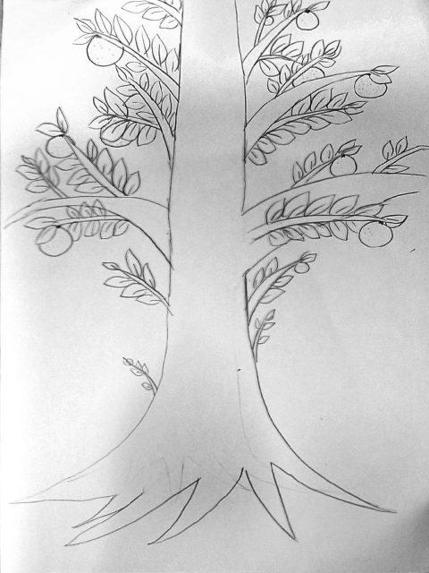 【バウムテスト①】幹の上部をどう処理していいかわからず悩みながら描いた覚えがある。