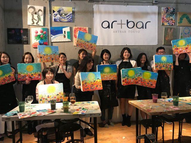 Artbar参加者と、完成した絵