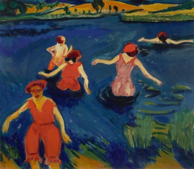 マックス・ペヒシュタイン《Badende(水浴びする人たち)》1911年、キャンバスに油彩、70.49 × 80.65 cm、アメリカ、ヴァージニア美術館蔵