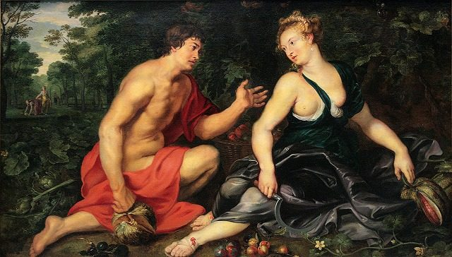 ピーテル・パウル・ルーベンス、《Vertumnus and Pomona》、1617-1619年、キャンヴァスに油彩、120×200cm、プライベート・コレクション https://commons.wikimedia.org/wiki/File:0_Vertumne_et_Pomone_-_Peter_Paul_Rubens_(1617-1619).JPG?uselang=it