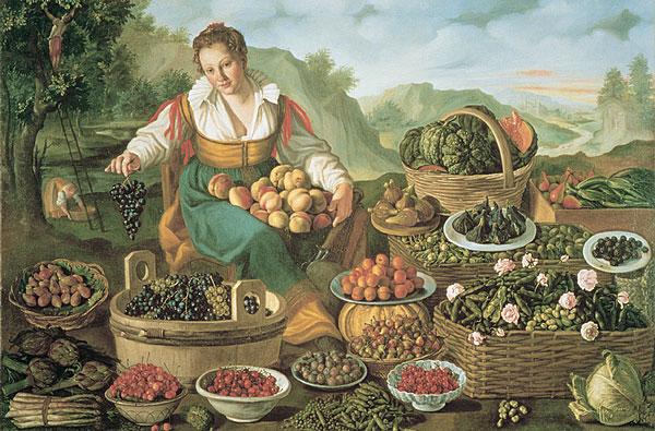 ヴィンチェンツォ・カンピ、《The Fruit Seller》、キャンヴァスに油彩、1578 -1581 年、143×213 cm、イタリア ブレラ美術館