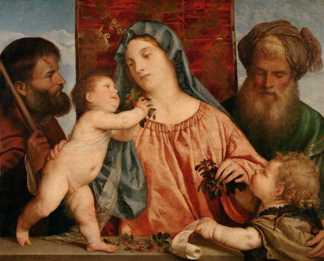 ティツィアーノ《Madonna of the Cherries》、カンヴァスに油彩、1516-1518年、81×99.5 cm、オーストリア、ウィーン美術史美術館