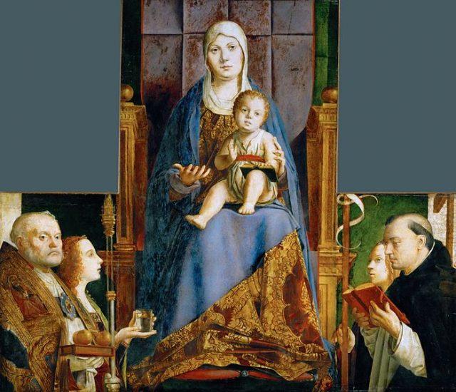 アントネッロ・ダ・メッシーナ《Pala di San Cassiano》、1475~1476年、タブローに油彩、55.9×35 cm、オーストリア、ウィーン美術史美術館