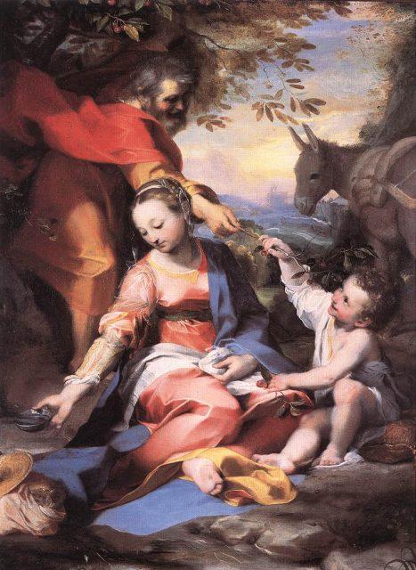 フェデリコ・バロッチ《Rest on the Flight to Egypt 》、1570年、カンヴァスに油彩、バチカン絵画館蔵