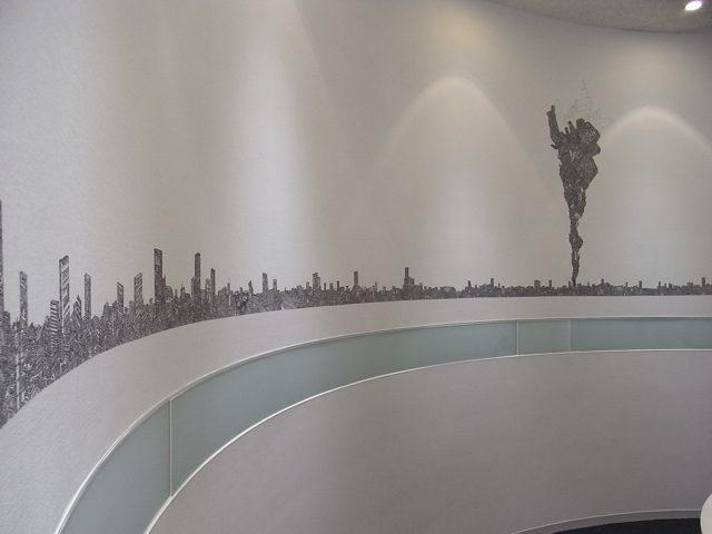 「ART IN THE OFFICE 2008」受賞作 坂口恭平《Dig-ital City(ディグ・アイタル・シティ)》2008 コンセプト:キャンバスの上に油性ペンのみで描かれていく架空の都市