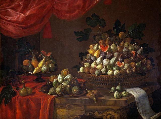 バルトロメーオ・ビンビ《Figs》、1696年、カンヴァスに油彩、イタリア、メディチ家ポッジョ・ア・カイアーノ山荘所蔵 Bartolomeo Bimbi [Public domain], via Wikimedia Commons