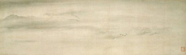 出光美術館に所蔵されている、伝牧谿《平沙落雁図》(重要文化財)