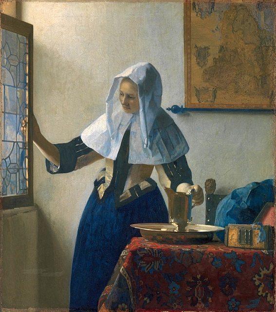 メトロポリタン美術館に所蔵されている、ヨハネス・フェルメール《水差しを持つ女》1662~63年頃