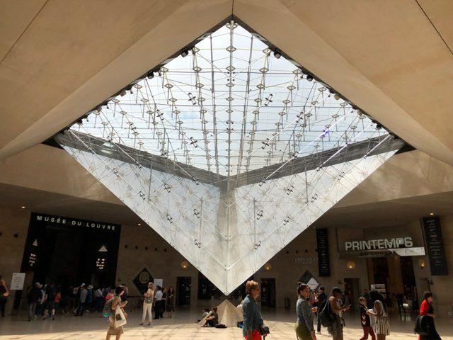 ルーブル逆さピラミッド。フランスのルーブル美術館前にあるショッピングセンター「ルーブル・ド・カルーゼル」に設置された採光窓。