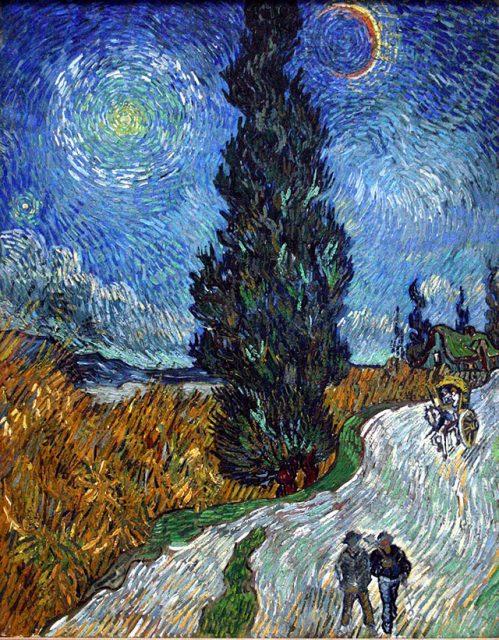 フィンセント・ファン・ゴッホ《糸杉と星の見える道》1890