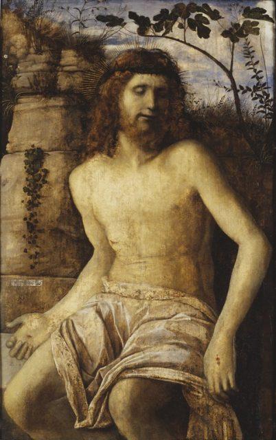 ジョヴァンニ・ベッリーニ《Christ crowned with Thorns》、1515年、カンヴァスに油彩、103×64cm、スウェーデン国立美術館所蔵 Giovanni Bellini [Public domain], via Wikimedia Commons