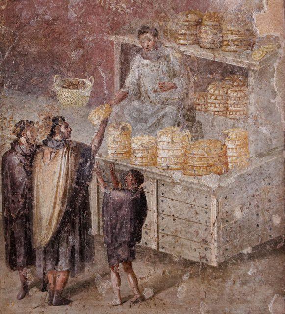 《Sale bread man(ポンペイ「ユリア・フェリクスの家」)》、1世紀、フレスコ画、イタリア、ナポリ考古学博物館蔵