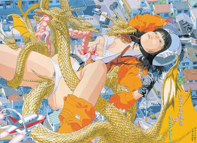《巨大フジ隊員VSキングギドラ》1993 撮影:長塚秀人 高橋コレクション蔵 (c) AIDA Makoto Courtesy Mizuma Art Gallery