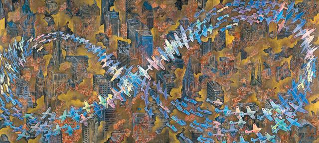 《紐育空爆之図(ルビ:にゅうようくくうばくのず)(戦争画RETURNS)》1996 零戦CG制作:松橋睦生 撮影:長塚秀人 高橋コレクション蔵 (c) AIDA Makoto Courtesy Mizuma Art Gallery
