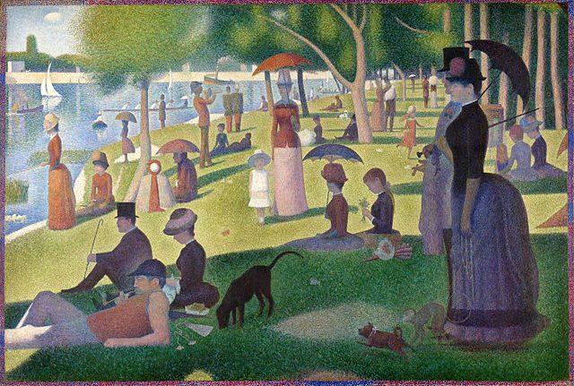 ジョルジュ・スーラ《グランド・ジャット島の日曜日の午後》1884~1886年、カンヴァスに油彩、207.6×308cm、シカゴ、シカゴ美術館蔵
