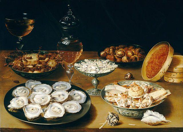 オシアス・ベールト《Dishes with Oysters, Fruit, and Wine》1620~1625年頃、パネルに油彩、52.9×73.4cm、ワシントン・ナショナル・ギャラリー・オブ・アート蔵