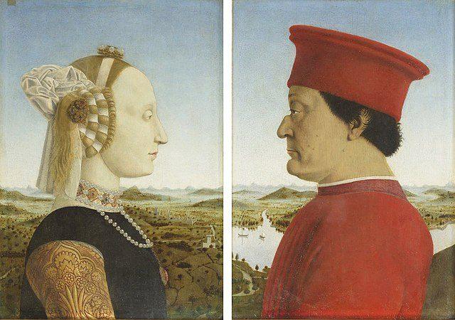 ピエロ・デッラ・フランチェスカ《ウルビーノ公夫妻の肖像》1473~75年頃、木板に油彩、各33×47cm、イタリア、ウフィツィ美術館蔵