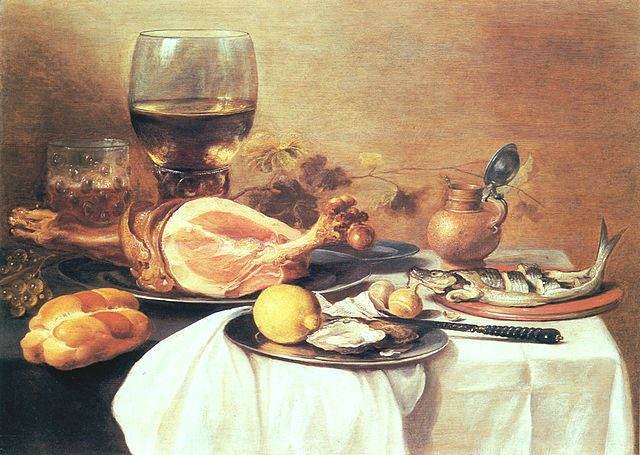 ピーテル・クラース《A ham, a herring, oysters, a lemon, bread, onions, grapes and a