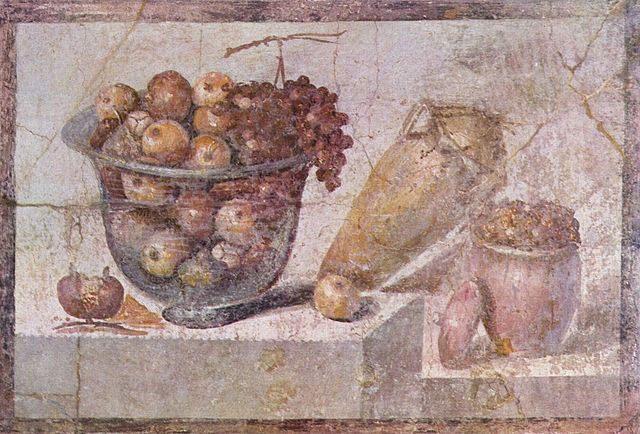 作者不明《Still life with glass bowl of fruit and vases》70年頃、70×108cm、フレスコ画、ナポリ、ナポリ国立考古学博物館蔵