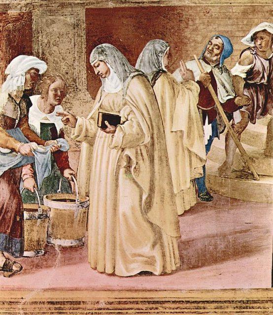 ロレンツォ・ロット《キルデアのビルギットの奇跡》、1524年、フレスコ画、イタリア、スアルディ礼拝堂