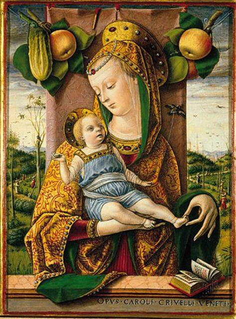 カルロ・クリヴェッリ《聖母子像》、1480年頃、21×15cm、木材にテンペラ、イタリア、アンコーナ、ピナコテーカ・チヴィカ蔵