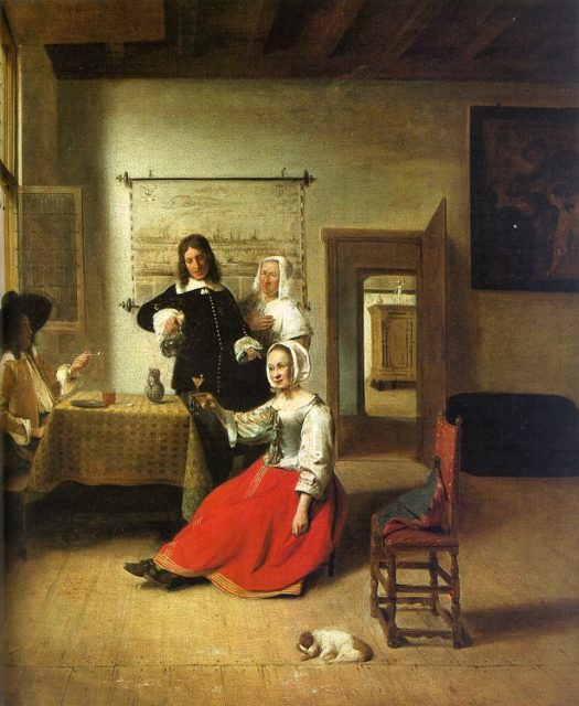 ピーテル・デ・ホーホ《Woman Drinking with Soldiers》、1658年、油彩、69×60cm、フランス、ルーヴル美術館蔵