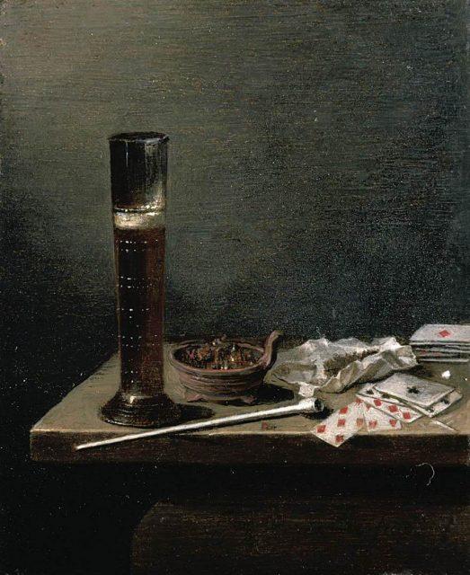 ヤン・ヤンスゾーン・ファン・デ・ヴェルデ《Still Life》、1653年、パネルに油彩、14.4×12cm、プライベートコレクション 横線がみえるグラスは<パスグラス>と呼ばれるもの。数人でグラスを回し飲みするときに、飲んだ量がわかるようになっています。男性たちの友情の証でもあったのだとか。