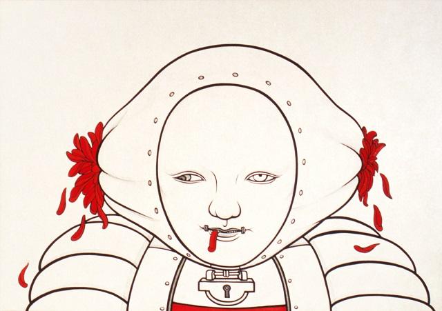"""《ラ・デグランジュ》""""La Dégrange""""  2005  雲肌麻紙に青墨、岩絵具  29.5 x 42 cm 高橋コレクション  © Kumi Machida, Courtesy of Nishimura Gallery"""
