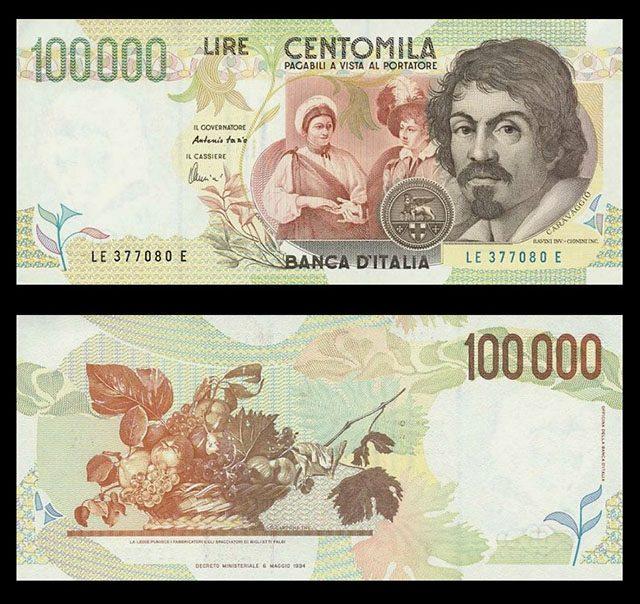 10万リラ紙幣に描かれたカラヴァッジョと《果物籠》 By OneArmedMan [CC-BY-SA-3.0], from Wikimedia Commons
