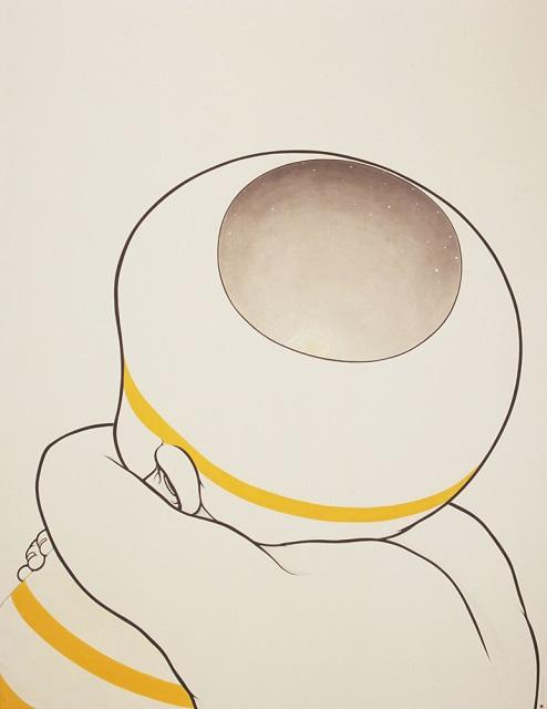 """《登山》""""Mountain Climbing""""  2006 雲肌麻紙に青墨、茶墨、顔料、岩絵具、銀箔  145.5 x 112.1 cm 高橋コレクション © Kumi Machida, Courtesy of Nishimura Gallery"""