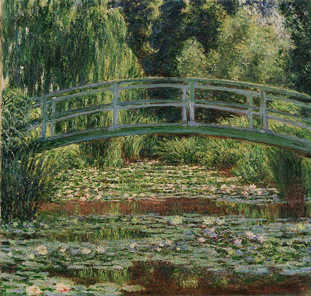 クロード・モネ《ジヴェルニーの日本の橋と睡蓮の池》1899年、カンヴァスに油彩、89.2 × 93.3 cm、フィラデルフィア、フィラデルフィア美術館蔵